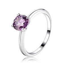 Women  Silver Round purple zircon Prong Setting Lovely Wedding Ring Size  8