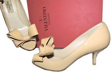 Valentino Garavani Beige Pump Nude Patent Leather Low Heel Shoe Sandals 36.5 Bow
