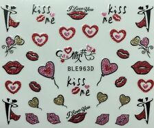 Nail Art 3D Glitter Decal Stickers Kiss Me Hearts Lips Wedding Valentine BLE963D