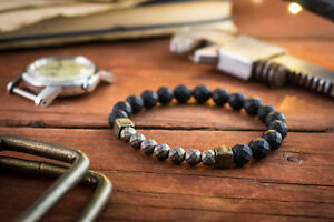 Onyx & faceted hematite beaded stretchy men's bracelet with bronze cubes