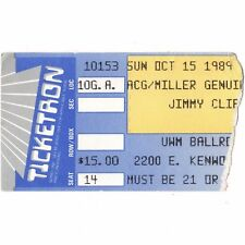 Jimmy Cliff Concert Ticket Stub Milwaukee Wisconsin 10/15/89 Harder They Come