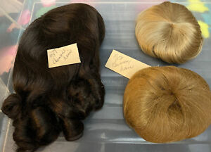 Lot Of 3 Doll Wigs Human Hair In Various Colors And Sizes NOS #L03