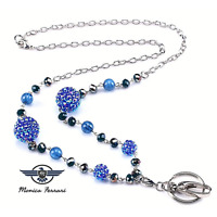 Blue Sphere Beads Ladies Women's Pretty ID Badge Keys Holder Necklace Lanyard