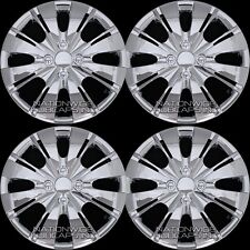 "4 Chrome 2006-18 Toyota Yaris 15"" Hub Caps Wheel Rim Covers Snap On 4 Bolt Hubs"