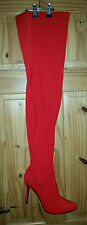 Ladies StretchThigh High Stiletto Heel Boots RED Size 43