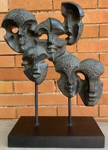 Contemporary Abstract Heads Faces Cluster Sculpture Austin Productions Modern