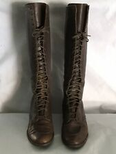 Antique Brown Leather Women'S Tall Lace Up Victorian Boots - Nice