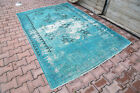 5.5x7.9 TEAL Rug Faded Distressed Turquoise Floor Decor Over dyed Area Modern