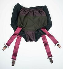 Sheer Black Knickers Suspenders Attached Satin Trim Small 8-10 Handmade Sissy