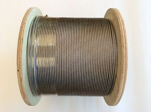 305m Stainless Steel Marine 316 Wire Cable Rope Decking Balustrade 7x7  3.2mm