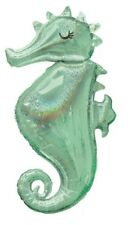 """38"""" Mermaid Wishes Party Holographic Sparkle Seahorse Supershape Foil Balloon"""