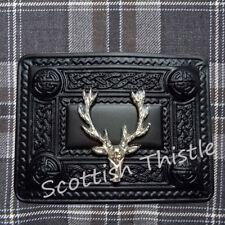 Hebilla Correa Falda Escocesa Kilt Cabeza de Ciervo Acabado en Negro/Highland