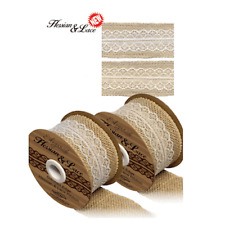 Woven Edge Hessian Ribbon With Lace Insert -white or Ivory 50mm Wide 1m Ivory/natural