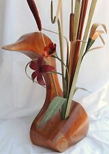 Made-in-the-USA Trumpeter Swan Vase w/ Flower Arrangement Made Totally from Wood