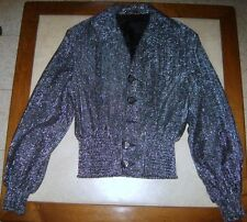 AWESOME VINTAGE BLACK & SILVER JACKET FROM THE 1970s GREAT RETRO FOR HALLOWEEN