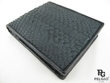 PELGIO Real Genuine Python Snake Skin Leather Men's Bifold Coins Wallet Black