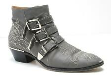 CHLOE Grey Leather Silver Studded Susanna Ankle Boots 3-Buckle Low Heel 11-41