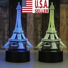 3D LED illusion Eiffel Tower table Night Lamp Light 7-Color Bedroom Child Gift