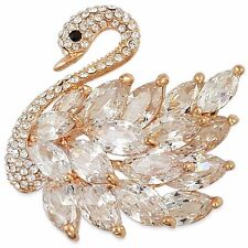 ROSE GOLD OR RHODIUM PLATED CRYSTAL SWAN BROOCH PIN MADE WITH SWAROVSKI ELEMENTS
