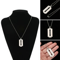 Unisex Stainless Steel Razor Blade Shaped Pendant Dogtag Necklace Hip Hop Punk