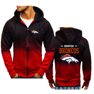 Denver Broncos Mens Zip Up Hoodie Hooded Sweatshirt Long Sleeve Jacket Fans Gift
