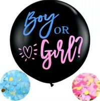 "GIANT 36"" Gender Reveal Balloon Baby Girl Pink Or Boy Blue Confetti Baby Shower"