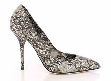 NWT £370 DOLCE & GABBANA Lace Print Leather Pumps Court Shoes Stilettos EU41/UK7