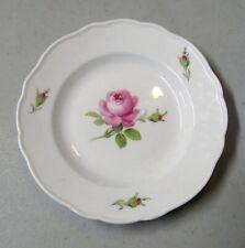 "Meissen Pink Rose 7"" Dessert Plate with No Trim Crossed Swords Mark"
