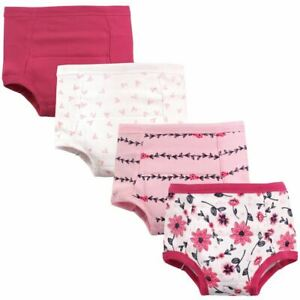 Hudson Baby Girl Toddler Water Resistant Training Pants, 4-Pack, Flowers