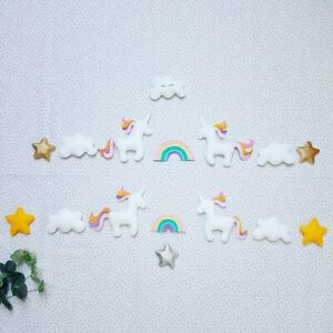 UNICORN clouds multicolour heart baby nursery mobile shower gift bunting garland