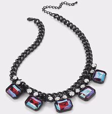 Necklace CHOKER black collar opal iridescent stones crystals statement chain ❤