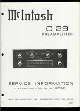 Rare Original Factory McIntosh C 29 Stereo Pre Amp Amplifier Service Manual
