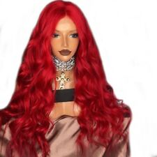"24"" Red Wavy Long GlueLess Lace Front Wig Heat Resistant Hair Handtied Cosplay"