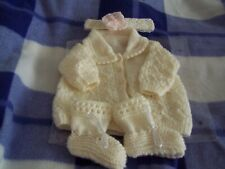 Beautiful New Hand knitted Sweet Dreams Babies , Cream-Cardigan and Bootess