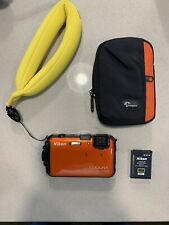 Nikon COOLPIX AW110 16MP Camera Orange w/Battery, Case, Chums Floaty, No Charger