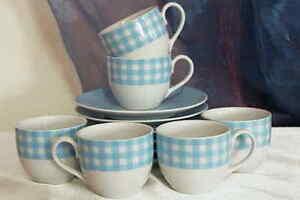 12 tlg. Espresso Set Mokkatasse Espressotassen mit Unterteller Vichy blau KARO