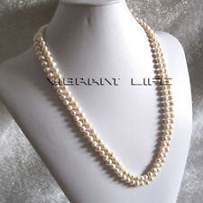 "24-25"" 5-7mm White 2Row Freshwater Pearl Necklace AC"