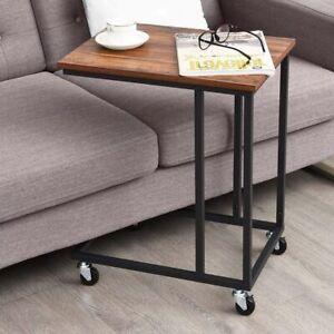 Tavolino da Caffe Porta Pc Laterale Divano Letto Metallo legno con Ruote Moderno