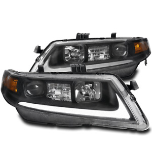 FOR 04-08 ACURA TSX CL9 LED TUBE PROJECTOR HEADLIGHTS HEADLAMPS BLACK LEFT+RIGHT
