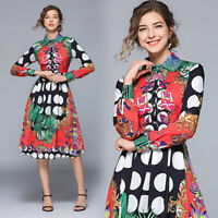 2019 Summer Fall Runway Floral Print Empire Waist Long Sleeve Women Casual Dress