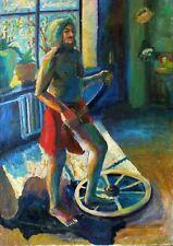 """Russischer Realist Expressionist Öl Leinwand """"Mann mit Säbel"""" 120x85 cm"""