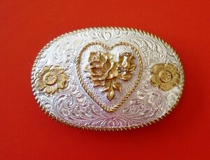 VTG Western Heart and Roses Crumrine Silver Plate Jewelers' Bronze Belt Buckle