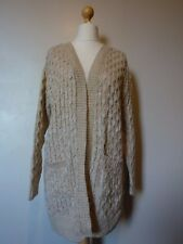 Pura Moda Chunky Knitted Open Cardigan with Pockets Long Size L/XL BNWT Beige