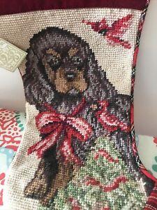 "123 Creations Inc Needlepoint Plaid 15"" Spaniel Dog Christmas Stocking NWT"