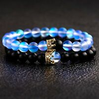 2Pcs Couple King Queen Crown His And Her Friendship 8mm Natural Stone Bracelets