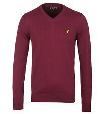 """Lyle & Scott Claret Jug V-Neck Mens Cotton Sweater Size UK XXL 44"""" Chest"""
