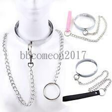 Steel Slave Collar Neck Restraint Lockable Choker Necklace & Chain Leash Bondage