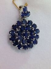 14k Solid White Gold Cluster Pendant 5.96CT Natural Oval Sapphire3.20GM
