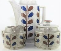 Vtg Japan Speckled Stoneware Blue Brown Leaves Pattern Pitcher Sugar Creamer Set