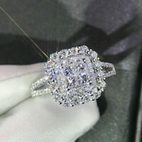 2.50 Ct Princess Cut Diamond 14k Solid White Gold Cluster Engagement Ring